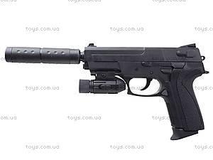 Пистолет утяжеленный с глушителем и светом, M4013D, игрушки