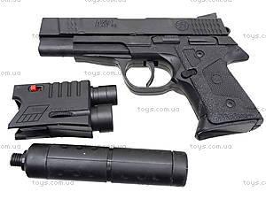 Игрушечный пистолет с пульками лазером и глушителем, MP45-86, фото