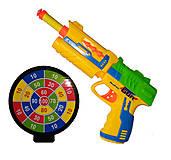 Пистолет с присосками и мишенью (желто-синий), XH011