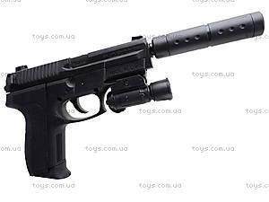 Утяжеленный пистолет с глушителем, SO2022B, игрушки