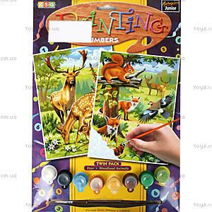 Раскраска по номерам акрилом «Лесные животные», 0216-KSG, купить