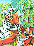 Раскраска по номерам карандашами «Тигр с детенышем», 0049-KSG, купить