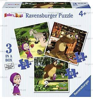 Пазл Ravensburger 3в1 «Маша и Медведь», 07027R