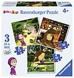Пазл Ravensburger 3в1 «Маша и Медведь», 07027R, фото