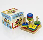Разноцветная деревянная пирамидка, 0488, фото