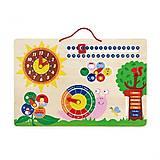 Развивающая игрушка Viga Toys «Календарь и Часы», 50380, фото