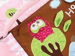 Развивающий коврик «Сова» с бортиками, розовый, 2875, игрушки