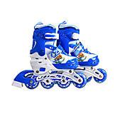 Ролики раздвижные со светящимися колёсами 31-34 размер голубые, YW03421, детские игрушки
