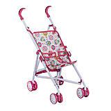 Розовая коляска-трость для кукол «Мишка», 886AB, фото