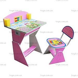 Розовая парта со стулом «Веселой учебы», E2017 P