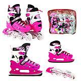 Розовые раздвижные ролики-коньки 2 в 1 «Scale Sport» размер 36-40 , , фото