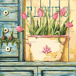 Розовые тюльпаны, роспись картины по номерам, КНО2028