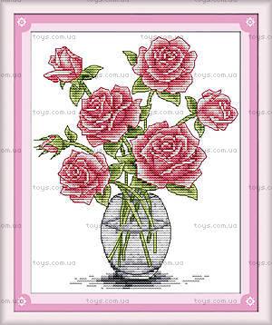 Розы в вазе, картина крестиком, H025