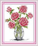 Розы в вазе, картина крестиком, H025, доставка