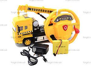 Автокран на радиоуправлении с пультом в виде руля, 666-182FA, детские игрушки