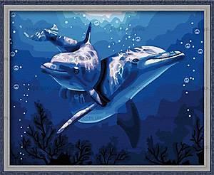 Рисование по номерам «Дельфины», КН056