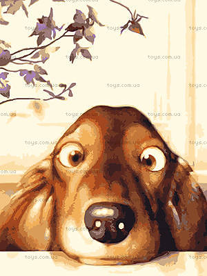 Рисование по номерам «Озорной щенок», КНО2443, фото