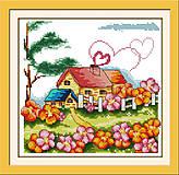 Сельский домик, набор для вышивки нитками, K062, фото