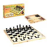 Шахматы деревянные 3 в 1 для всей семьи, C36816, тойс