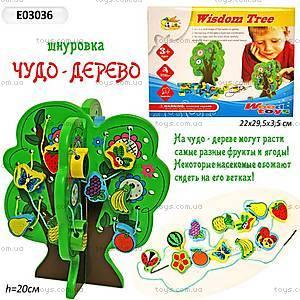 Шнуровка «Дерево», деревянная, E03036