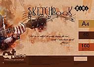 Скетчбук ART Line А4 на пружине 40 л с белым внутренним блоком (коричневый), ZB.1486, набор