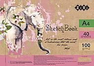 Скетчбук  ART Line А4 на пружине 40 л с белым внутренним блоком (розовый), ZB.1487, детский