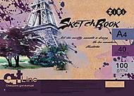 Скетчбук ART Line А4 на пружине 40 л с кремовым внутренним блоком (фиолетовый), ZB.1481, іграшки