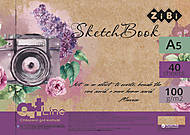 Скетчбук А5, 40 л пружина (фиолетовый), ZB.1495, игрушки