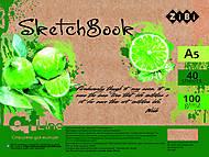 Скетчбук А5 40 л на пружине кремовый блок (зеленый), ZB.1491, игрушки