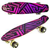 """Скейт 55см, колёса светятся """"Абстракция"""" фиолетово-розовый, F5490, опт"""