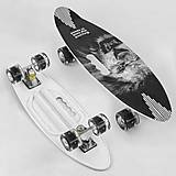 Скейт доска 60см, колёса PU, светятся 6см (черно-белый), A45220, детский