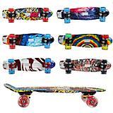 Скейт пластиковый принт с 2х сторон, колеса PU со светом 6 видов, GSK-00011, купить игрушку