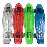 Скейт пластиковый прозрачный, свет + PU колеса, BT-YSB-0051, іграшки