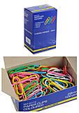 Скрепки цветные 28 мм, 100 штук, круглые (10 наборов в упаковке), BM.5015, детский