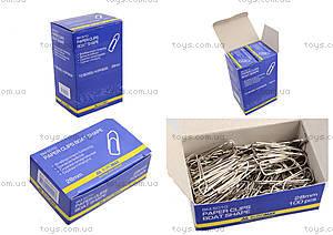 Скрепки никелированные 28 мм, 100 штук, пятиугольные (10 наборов в упаковке), BM.5010