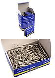 Скрепки никелированные волнистые 50 мм, 100 штук (10 наборов в упаковке), BM.5020, Украина