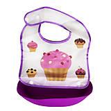 Слюнявчик с кармашком фиолетовый, 2303, игрушки
