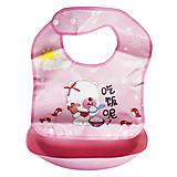 Слюнявчик с кармашком розовый, 2303, детский
