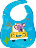 Слюнявчик с прозрачным карманом синий Lindo, Ф 930, магазин игрушек