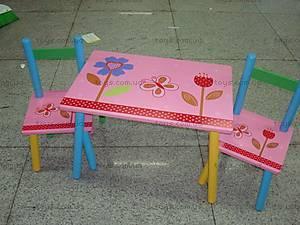 Стол и 2 стула, с цветочками, W02-287