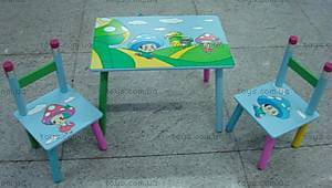 Стол и 2 стула, с принтом, 2880-2(W02-28