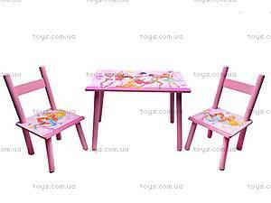 Столик деревянный с 2 стульчиками, 2547-34