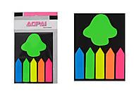 """Стикер-закладка пластиковая 25 листов """"Забор+Яблоко, Листик"""" (6 штук), PET-15-A, детские игрушки"""