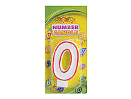 "Свечка для торта цифра ""0"" с контуром, HS101-0"
