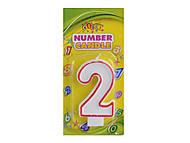 """Свечка для торта цифра """"2"""" с контуром, HS101-2, купить"""