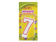 """Свечка """"Цифра 7"""" цветной контур, HS101-7, цена"""