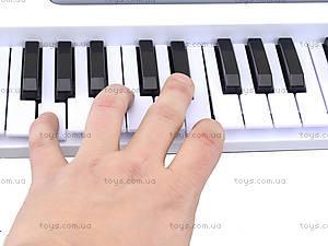 Синтезатор с микрофоном для детей, белый, HS3710B, фото