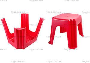Табурет прямоугольный, красный, ПХ4570 КРАСН