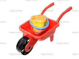 Детская тачка с лодочкой и песочным набором, 01-127, фото
