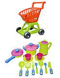Детская игрушечная тележка с набором посуды, 36-005, магазин игрушек